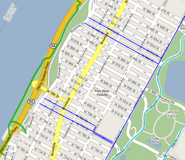 New Bike Lanes Routes For Manhattan Nyc Maps: Map Of New York City Streets At Slyspyder.com