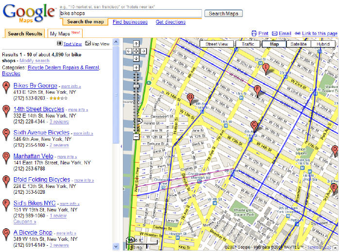 View the nyc bike map with google's my maps