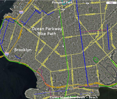 Ocean Parkway Bike Path Map