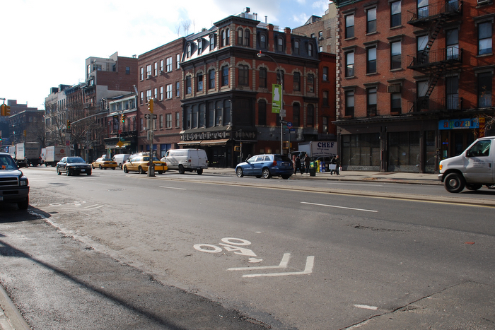 Sharrows on Bowery connecting Bleeker and 2nd Street