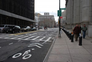 centre-st-bike-sharrows-exiting-brooklyn-bridge-at-chambers