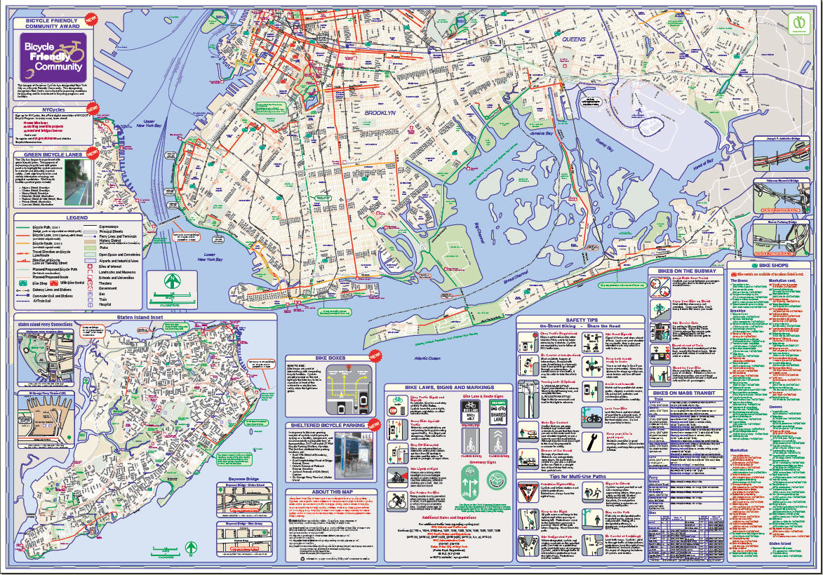 Bike Nyc Map Many of the new bike lanes