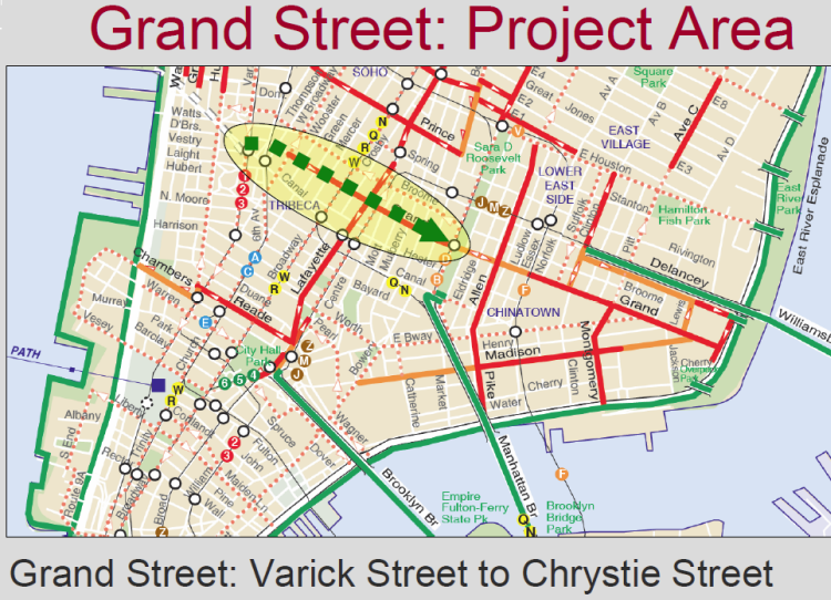 Grand Street Protected Bicycle Path
