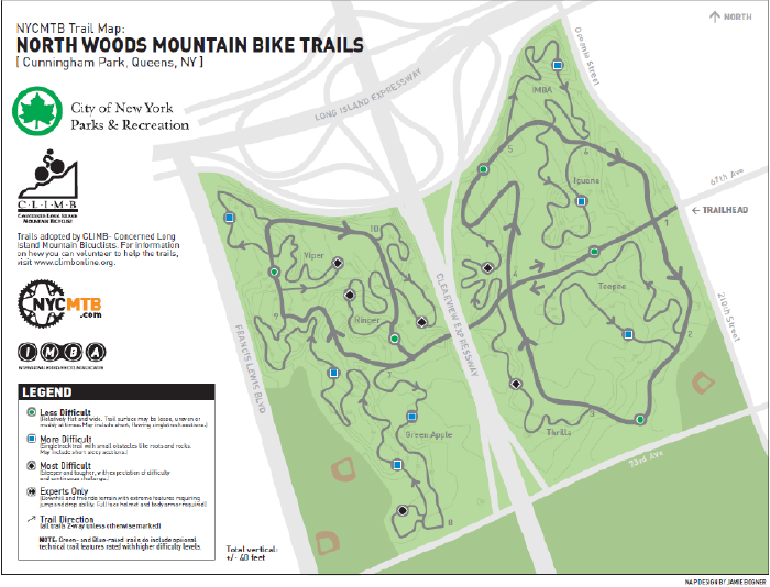 Cunningham Park Mountain Bike trails:  Click for Full Size map