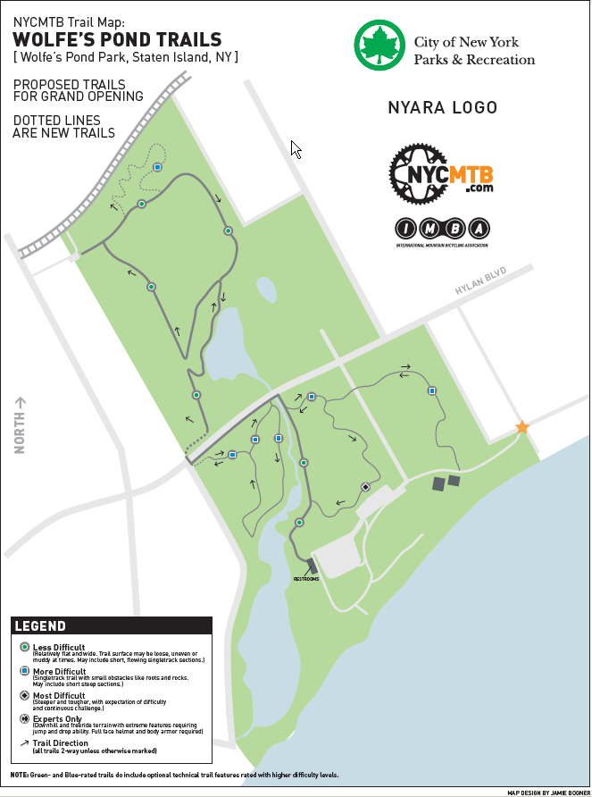 Wolfe's Pond Park Mountain Bike Trails Map:  Click for Full Size