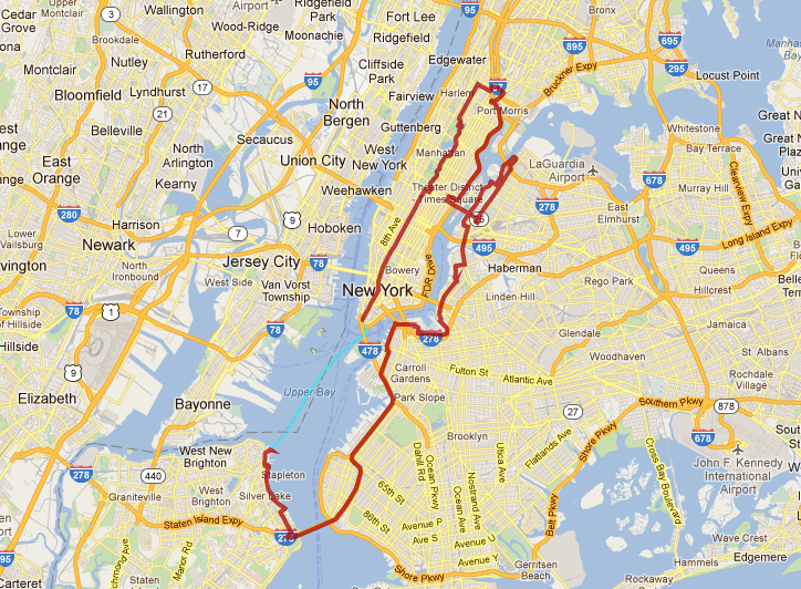 Bike Nyc 5 Boro Five Boro Bike Tour Map NYC