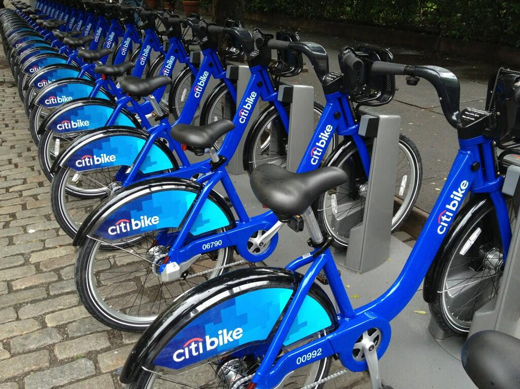 City Bikes Nyc Citi Bikes on Fulton St with
