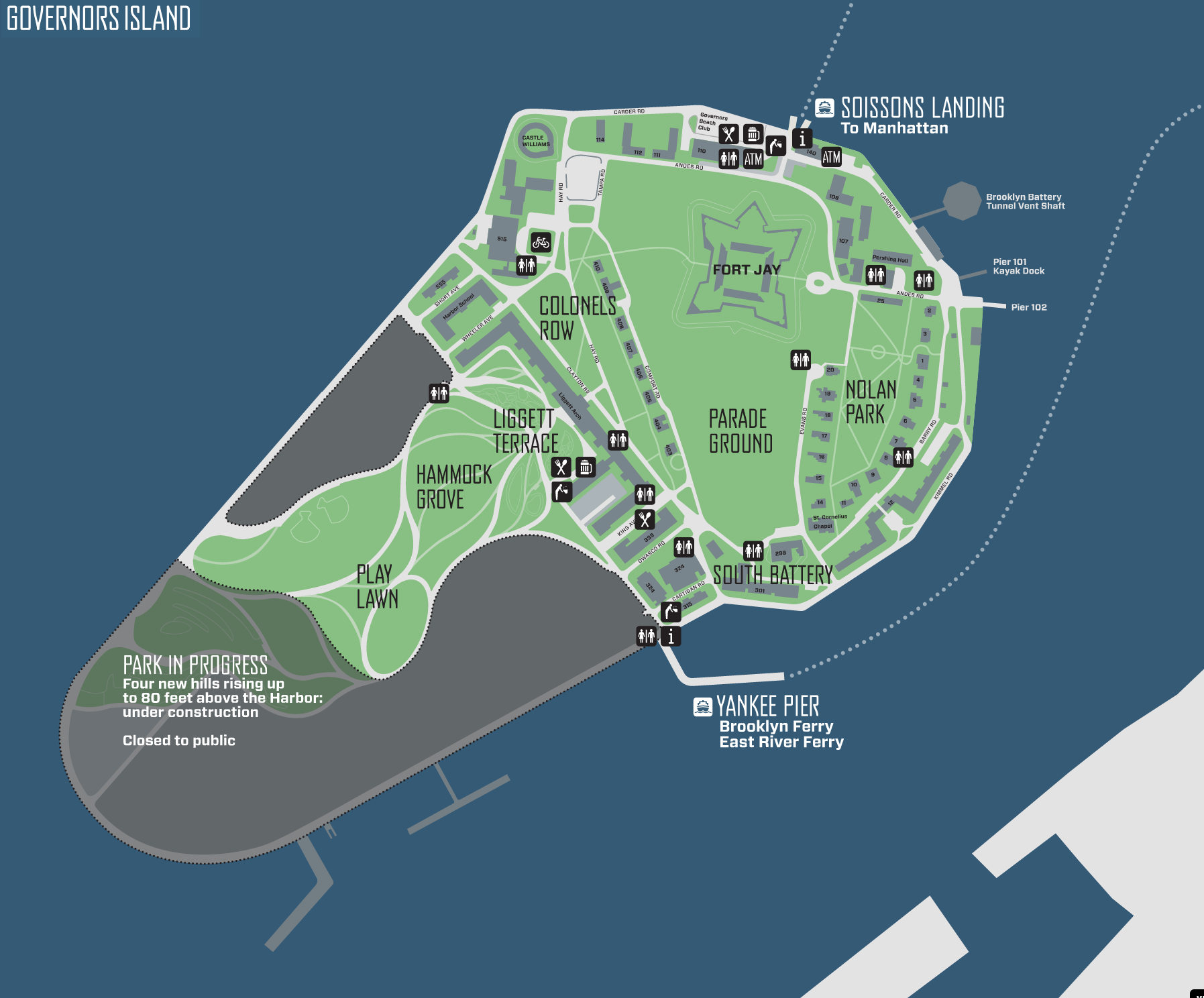 Governors Island Bike Map NYC Bike Maps