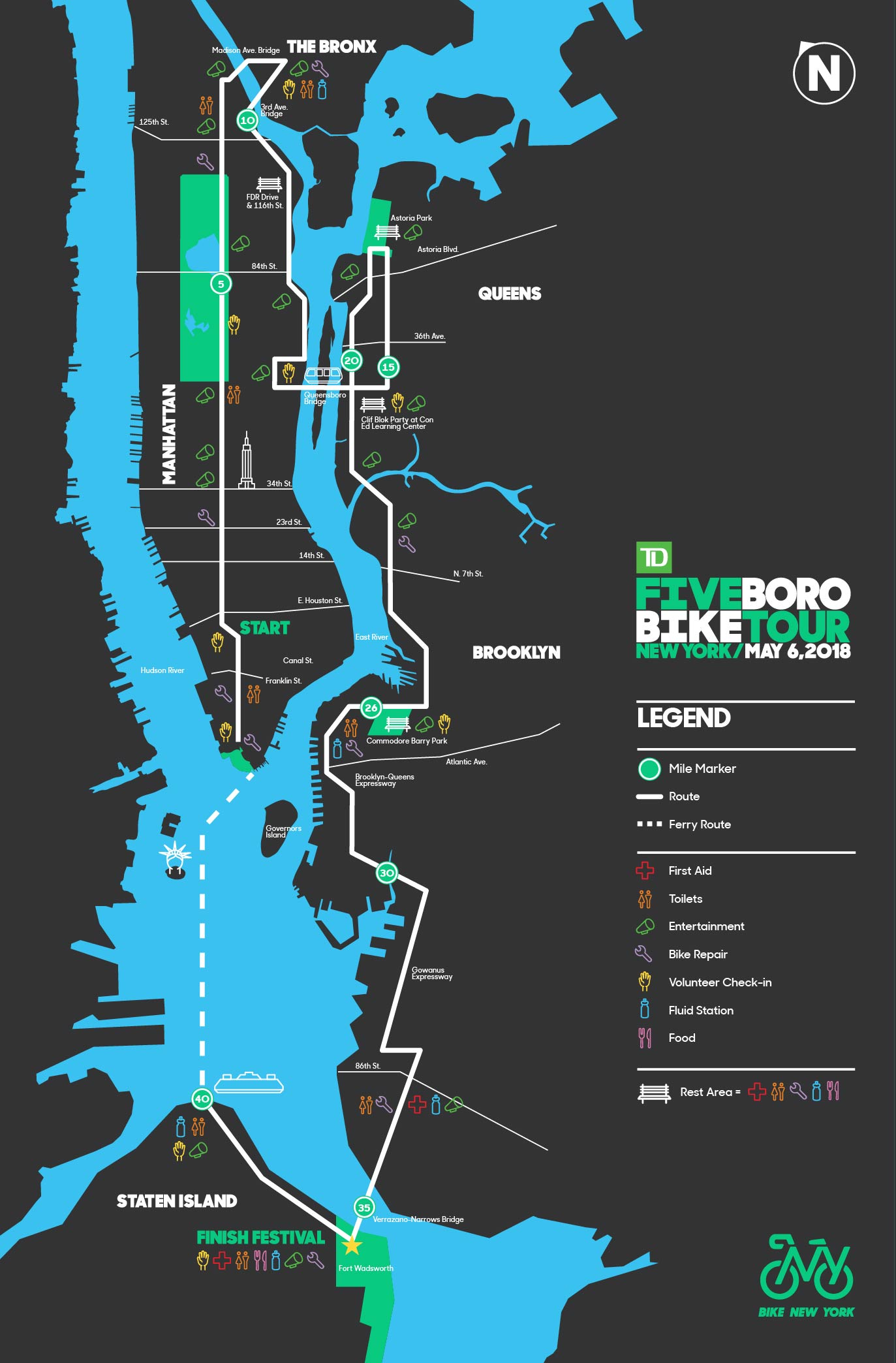 Five Boro Bike Tour 2018 Sunday May 6th Nyc Bike Maps