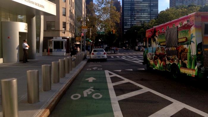 Bike lane blocked by NYPD
