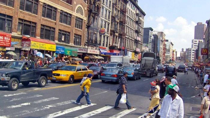 busy street in Chinatown Manhattan
