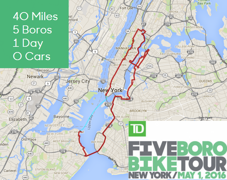Five Boro Bike Tour Map