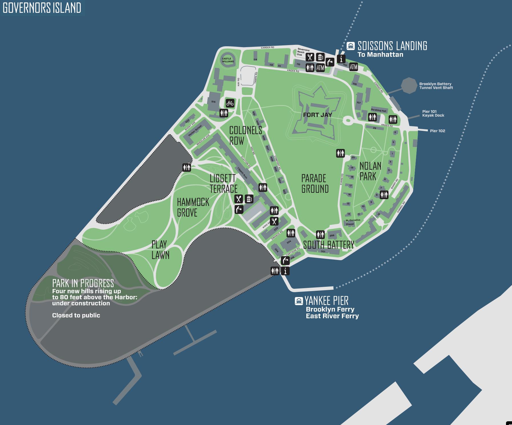 Governors Island Bike Map